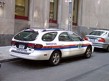 """A Ford Taurus """"fueled by clean burning ethanol"""" owned by New York City."""