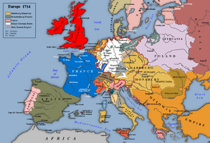 Map of Europe after the treaties of Utrecht, Rastatt and Baden
