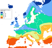 Europe sunshine hours map