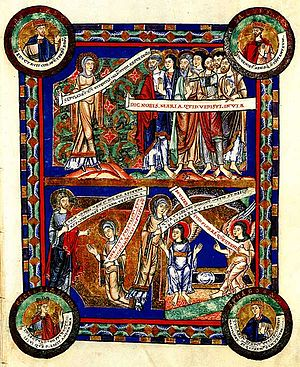Speech scroll - Scenes of the Resurrection, an illuminated manuscript, 1188.