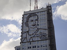 Mural de Evita en Buenos Aires