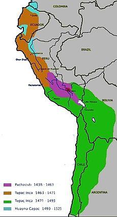 La mayor expansión del imperio (marrón durante su co-reinado y verde durante su reinado) se dio en el periodo de Túpac Yupanqui.
