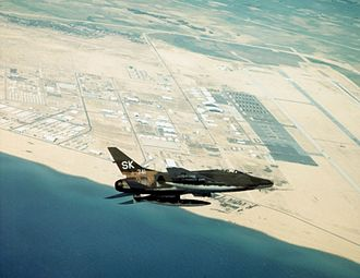 Tuy Hoa Air Base - F-100C of the 188th Tactical Fighter Squadron, New Mexico Air National Guard, over Tuy Hoa Air Base, South Vietnam in 1968.