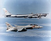 "An F-14A Tomcat from VF-114 intercepting a Soviet Tu-95RT ""Bear-D"" maritime patrol aircraft."