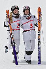 FIS Moguls World Cup 2015 Finals - Megève - 20150315 - Justine et Chloé Dufour-Lapointe 1.jpg