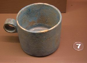 Faience measuring cup used for measuring food ...