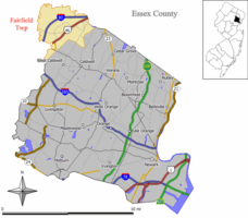 Map of Fairfield Township in Essex County. Inset: Location of Essex County highlighted in the State of New Jersey.