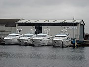4 Fairline Yachts outside Fairline's Ipswich testing facility