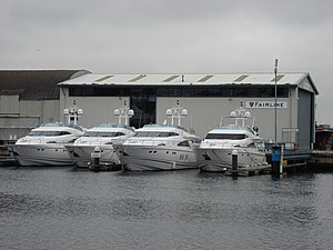 Fairline Boats - Fairline Squadron Yachts outside Fairline's Ipswich testing facility