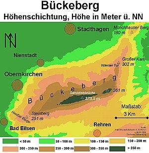 Bückeberg - Physical map of the Bückeberg hills