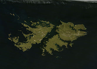 Geography of the Falkland Islands - Satellite image of the Falkland Islands