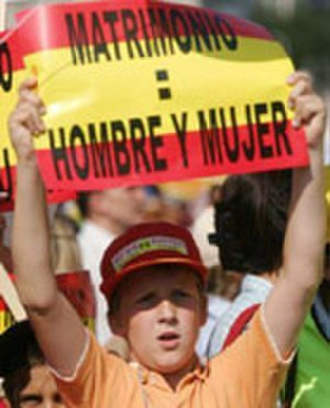 Same-sex marriage in Spain - Same-sex marriage opposer showing banner 'Marriage = Man and Woman'
