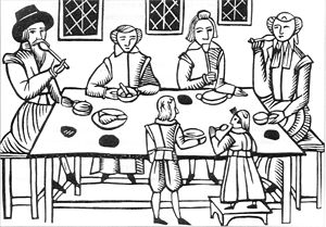 Woodcut of family dining, from the Roxburghe B...