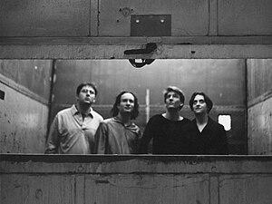 Freight Elevator Quartet - The Freight Elevator Quartet in 1998.  From left to right: Paul Feuer, Stephen Krieger, R. Luke DuBois, Rachael Finn.