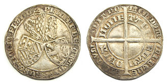 Philip the Bold - Flanders, double groat or 'jangelaar', struck in Gent under Philip the Bold (1384–1404) with the arms of Burgundy and Flanders.