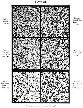Film grain - Photomicrograph of grain of different photographic plates