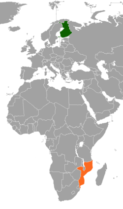 Map indicating locations of Finland and Mozambique