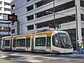 First Cincinnati CAF streetcar being towed along track during testing in Nov 2015.jpg
