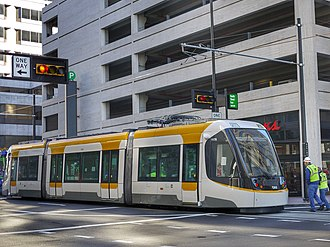 Streetcars in Cincinnati - The Cincinnati Bell Connector uses CAF Urbos 3 low-floor streetcars, one of which is shown here making the first test run in late 2015.