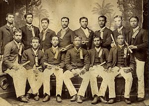 Charles E. King - Charles E. King (standing second from right) with the first graduating class of the Kamehameha School for Boys, 1891