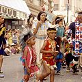 First Nations dancers in the Calgary Stampede Parade (27708571474).jpg