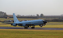 The RAF's first Boeing RC-135W Rivet Joint arrives at RAF Waddington in November 2013.
