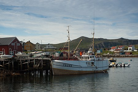 Fishing boat in Magerøya near North Cape, Norway.