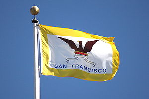 Flag of San Francisco - The San Francisco flag flying over San Francisco City Hall in October 2008.