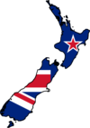 A flag and map of New Zealand