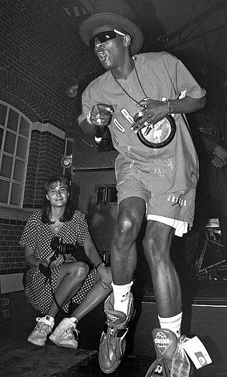 Public Enemy (group) - Flavor Flav performing in 1991.