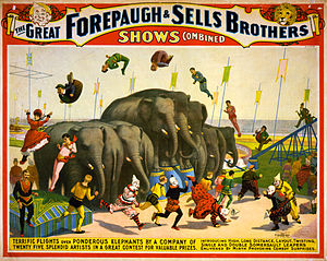 Adam Forepaugh - Image: Flickr …trialsanderrors Terrific flights over ponderous elephants, poster for Forepaugh ^ Sells Brothers, ca. 1899