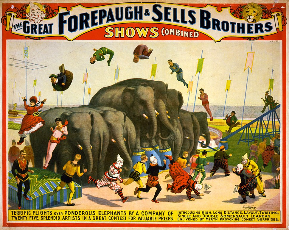 Flickr - %E2%80%A6trialsanderrors - Terrific flights over ponderous elephants, poster for Forepaugh %5E Sells Brothers, ca. 1899