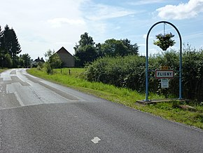 Fligny (Ardennes) city limit sign.JPG