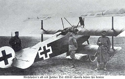 Richthofen's all-red Fokker Dr.I Fokker Dr1 on the ground.jpg