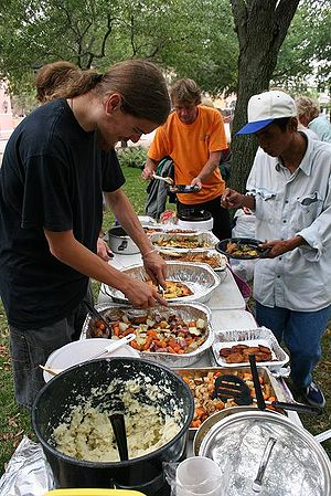 A meal being served by Food Not Bombs