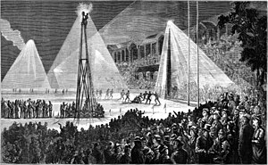 Australian rules football in popular culture - Engraving of a football match played under electric lights at the MCG, printed in the Illustrated Australian News, 1879