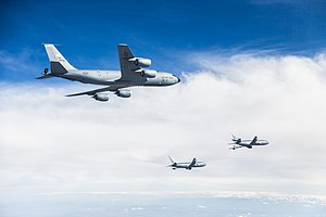 370th Flight Test Squadron - KC-10, KC-46 and KC-135 in formation at Edwards AFB