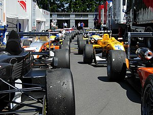 German Formula Three Championship - Formel 3 Cup cars in parc fermé at the Nürburgring, 2006.