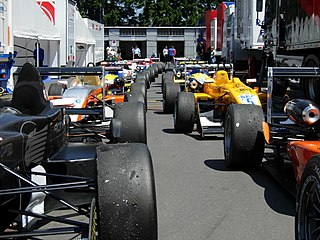 <i>Parc fermé</i> secure parking area at a race or rally