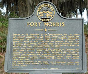 "Come and take it - Fort Morris historical marker with ""Come and take it!"""