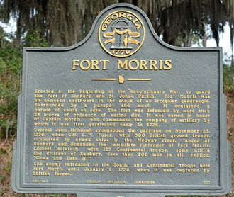"""Come and take it - Fort Morris historical marker with """"Come and take it!"""""""