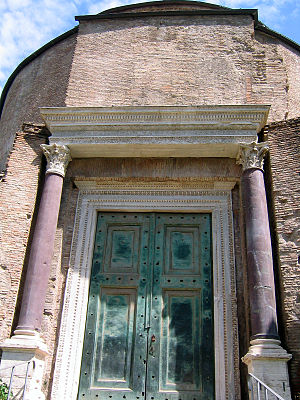 The ancient bronze doors are still in their or...