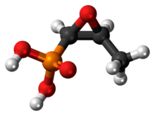 Ball-and-stick model of the fosfomycin molecule