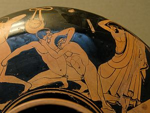 Foundry Painter - Pankration wrestlers on a ''kylix'', ca. 480 BC. London, British Museum.