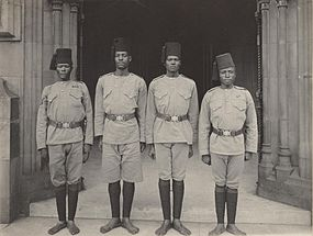Four soldiers of King Edward VII's African Rifles by Sir (John) Benjamin Stone