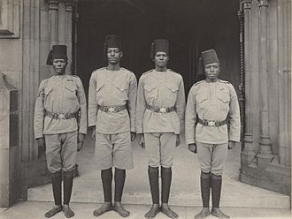 King's African Rifles - Contingent of KAR at the Coronation of King Edward VII and Queen Alexandra in 1902, photographed by John Benjamin Stone; the written notes indicate some are Sudanese