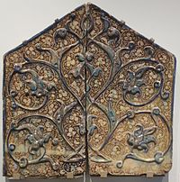 Fragment from a Mihrab, late 13th or early 14th century, Kashan, Iran,.jpg