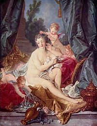 The Toilet of Venus (1751) typifies the superficially pleasing elegance of Boucher's mature style.