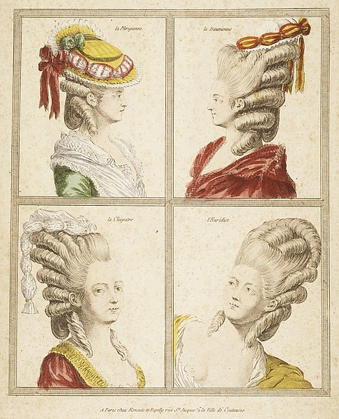 File:France, Rapilly, 18th Century Print showing Headdress Engraving, hand tinted, gouache Sheet- 11 5-8 x 9 3-8 in. Comp- 9 6-8 x 7 7-8 in. LACMA M.83.194.6.jpg