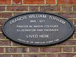 Francis william topham 1808 1877 painter in water colours illustrator and engraver lived here